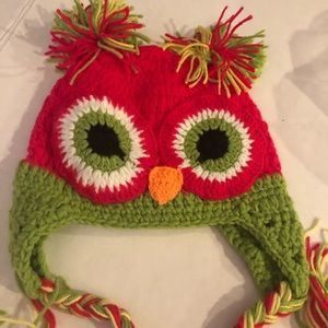 NEW CROCHET HAT PINK OWL